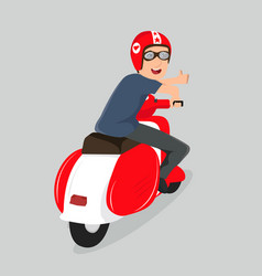 young boy riding scooter red vector image