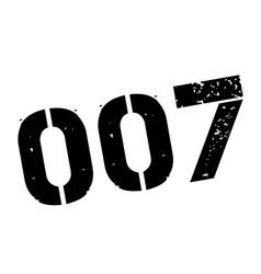 Zero zero seven black rubber stamp on white vector image