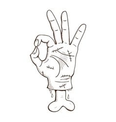 Zombie hand with Ok sign vector image vector image