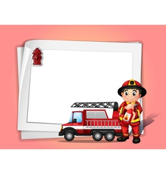 A fireman holding a fire extinguisher beside his vector image vector image
