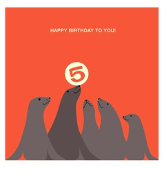 birthday card design with sea lions vector image vector image