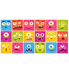 colorful square funny face of monsters with vector image