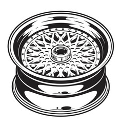 Isolated monochrome of car wheel rim vector