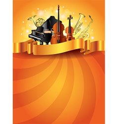 musical instruments vertical background vector image vector image