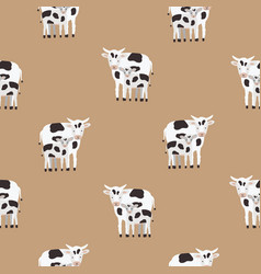 seamless pattern with cow and calf coated in black vector image