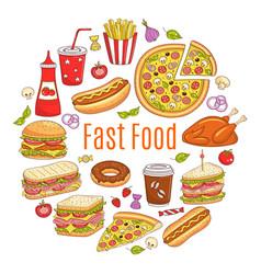 sketch of fast food circular vector image vector image