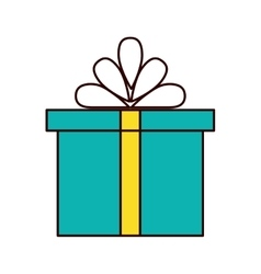 green gift box present yellow ribbon bow vector image