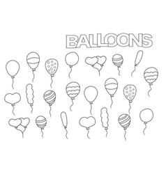 hand drawn balloons set coloring book page vector image vector image