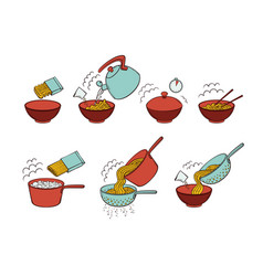 instant noodle and pasta cooking instructions vector image vector image