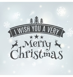 Merry Christmas text label on a winter background vector image vector image
