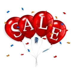 Red flying party balloons with text SALE vector image