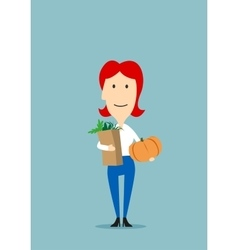 Woman with paper bag full of groceries vector image