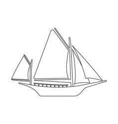 boat flat icon and logo outline vector image vector image