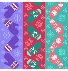 Christmas pattern with mittens - vector image