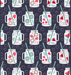 detox water in drinking jars seamless pattern vector image