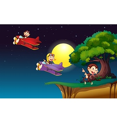 Monkeys on a plane flying near the cliff vector image vector image