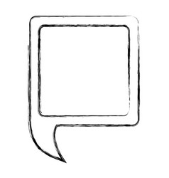 monochrome sketch of square speech with tail to vector image vector image