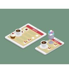Ordering food using gadgets in restaurant vector image