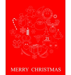 red Christmas symbols vector image vector image
