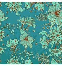 seamless blue floral background vector image vector image