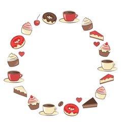 Sweets frame isolated on white vector image vector image