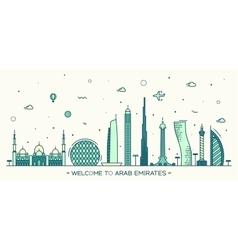 United Arab Emirates skyline flat style vector image