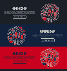 barber shop concept with thin line icons vector image vector image