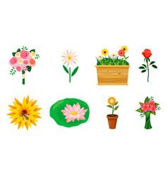 flower icon set cartoon style vector image