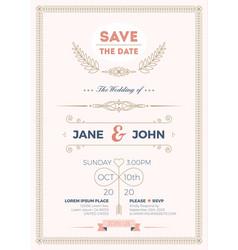 vintage wedding invitation card template vector image vector image