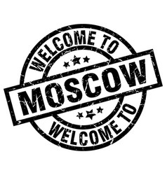 welcome to moscow black stamp vector image vector image