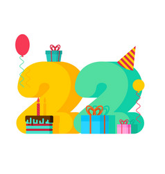 22 year birthday sign 22th template greeting card vector