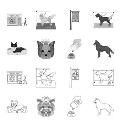 A dog in a lounger a muzzle of a pet a bowl vector