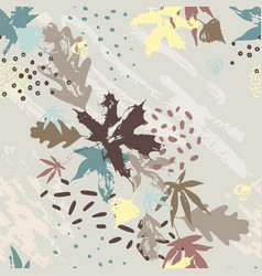 Abstract fall seamless pattern in bright autumn vector