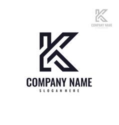 Abstract letter 2k or k2 logo design template vector