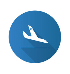 airplane arrival flat design long shadow glyph vector image