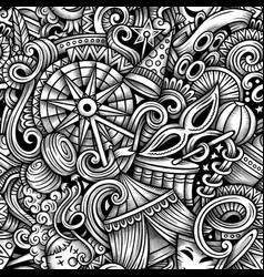 amusement park hand drawn doodles seamless vector image