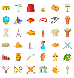 ancient icons set cartoon style vector image