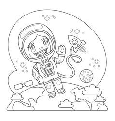astronaut coloring page vector image