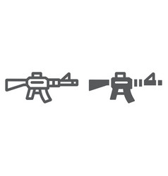 automatic rifle line and glyph icon army and war vector image