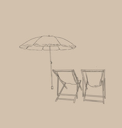 Beach chairs with umbrella sketch vector