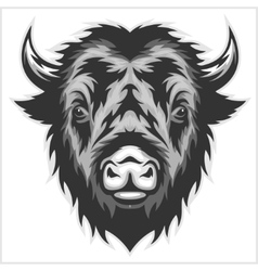 Bison mascot head black and white vector