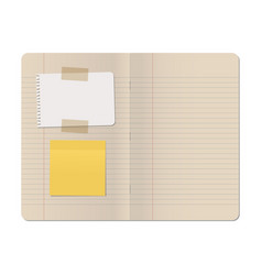 Blank stapled lines notebook with white sheet and vector
