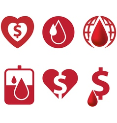 Blood and heart icon with dollar currency vector image