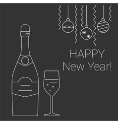 bottle and glass of champagne on chalkboard vector image