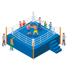 Boxing ring isometric composition vector