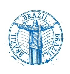 Brazil logo design template Shabby stamp vector