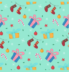 bright christmas pattern with gifts and stockings vector image