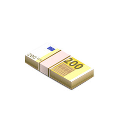 bright two hundred euro banknotes in stack in vector image
