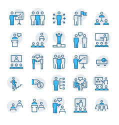 Business peoplepresentationtraining icon set vector