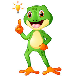 Cartoon frog with thinking a new idea vector